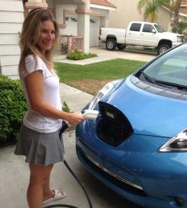 Julie Plugging In Her New Nissan Leaf Electric Car
